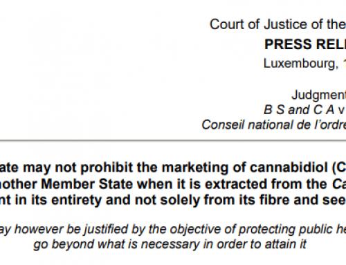 """EU domstol beslutar """"Fri rörlighet för CBD olja i EU"""""""